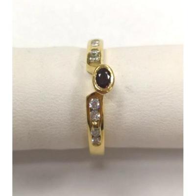 Bague Or Jaune Avec Diamant  & Rubis