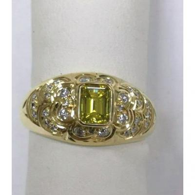 Bague  Or Jaune Diamant & Taille Emeraude