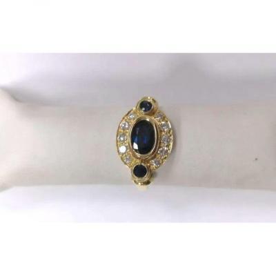 Bague Or Jaune Diamant & Saphirs
