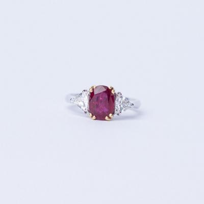 Bague Diamant  & Saphir  Bicolor
