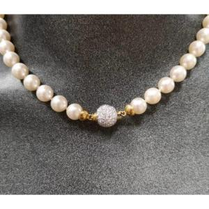 Collier De Perles Naturel 18ct. Or Bicolor &  Diamants