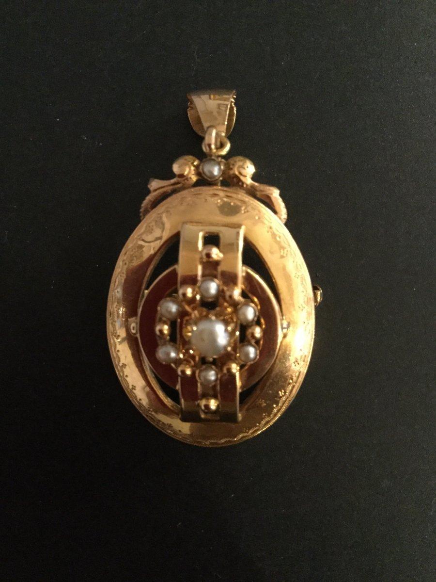 Broche Pendentif Or Perles Napoléon lll