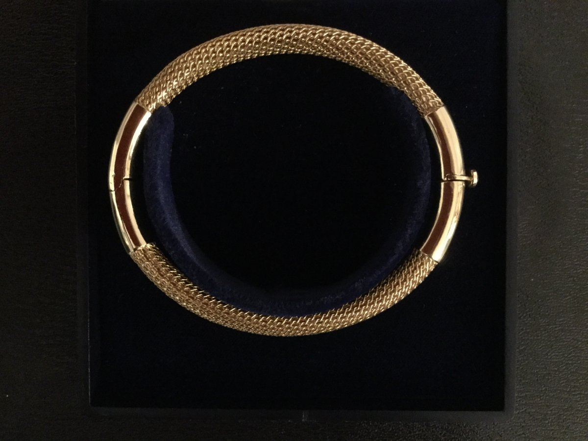 Bracelet Jonc Ovale En Or Jaune 18 Carats