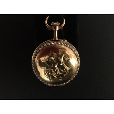 Montre Gousset 19 eme siècle , Avec Perles Fines En Or Jaune