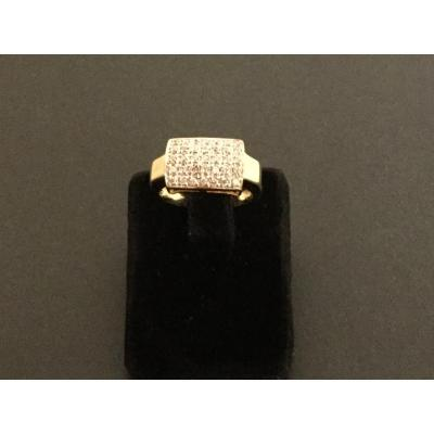 Vintage Ring 18 Kts Gold And Diamonds