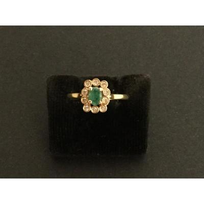 Emerald And Diamond Ring Yellow Gold