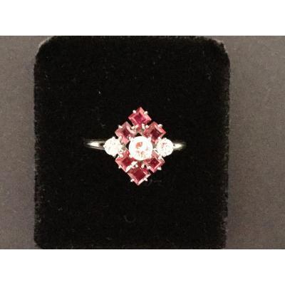 Bague Or Blanc Diamants Et Rubis