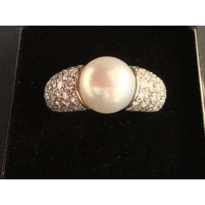 Ring White Gold Pearl And Diamonds