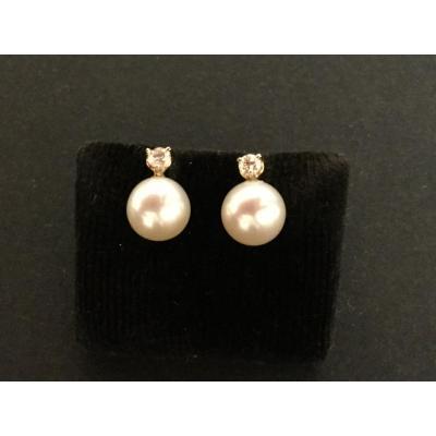 Boucles D'oreilles Perles De Culture Et Diamants En Or