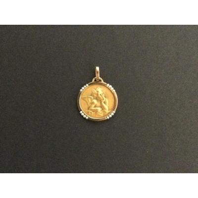 Angel Gabriel Medal In Yellow Gold