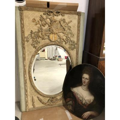 Louis XVIth Mirror And Cheminee Piece Of Furniture