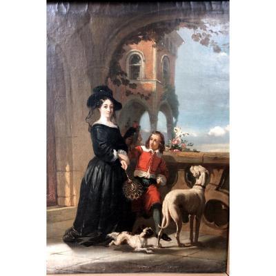 L'aristocrate Avec Enfant Et Aux Chiens