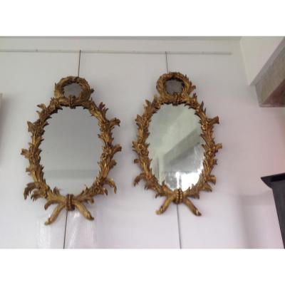 Paire De Miroirs Bois Doré XIX