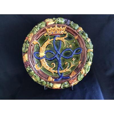 Médaillon En Céramique émaillée «aux Armes Du Comte De Chauveau» Signe J Loebnitz