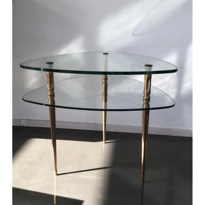 Pedestal Table In The Shape Of Ellipse Glass And Metal