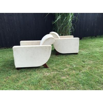 Pair Of Art Deco Armchairs Alfred Porteneuve Model By Ej Ruhlman