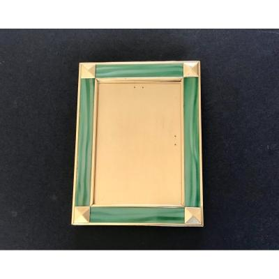 Frame In Solid Brass And Green Enamel