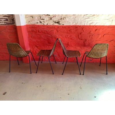 Série De 4 Chaises 1950  Gian Franco Legler