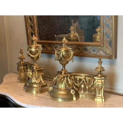 Pair Of Napoleon III Period Andirons In Gilt Bronze.