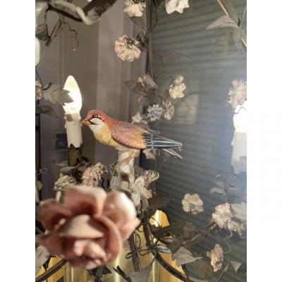 Lustre Cage à Fleurs De Porcelaine Et Oiseau.