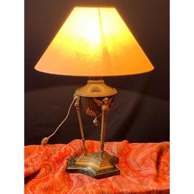 Lampe Athénienne De Style Empire En Bronze Doré Et Patine Médaille. XIX Ème.