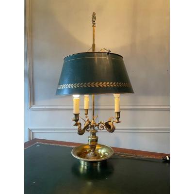 Grande Lampe Bouillotte En Bronze Doré.