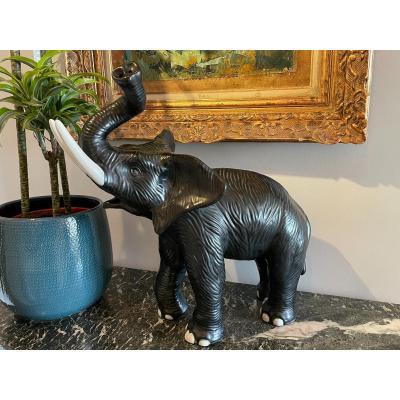 Statue D'éléphant Céramique  Circa 1980