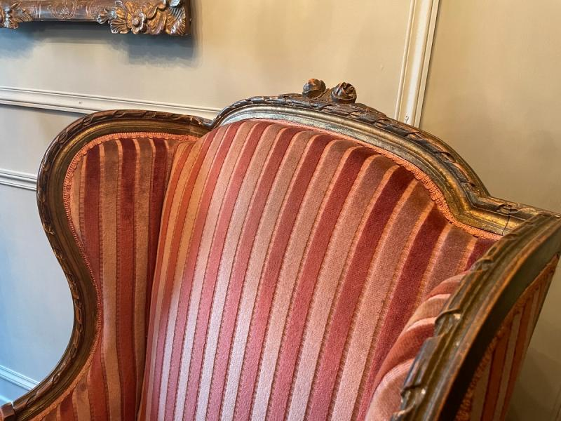Pair Of Bergères With Ears Of Louis XVI Style, In Golden Wood.-photo-2