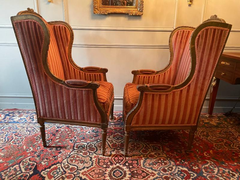 Pair Of Bergères With Ears Of Louis XVI Style, In Golden Wood.-photo-3