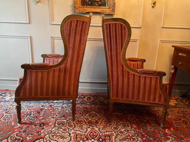 Pair Of Bergères With Ears Of Louis XVI Style, In Golden Wood.-photo-4
