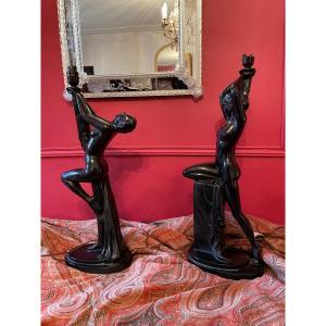 Deux  Pieds De Lampe De Style Art Déco