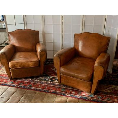 Pair Of Club Armchairs Said Mustache And Footrest