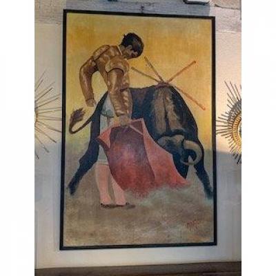 Peinture  Sur Isorel  Toréro ,signée  en bas à droite .