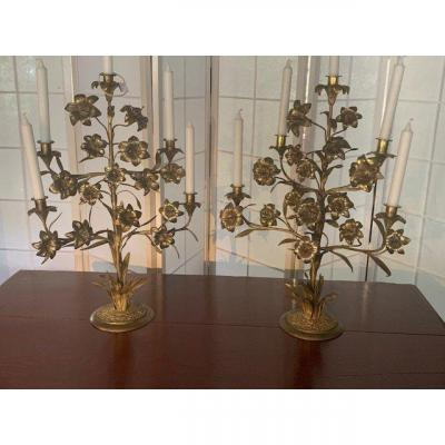 Pair Of Copper And Bronzes Candelabra