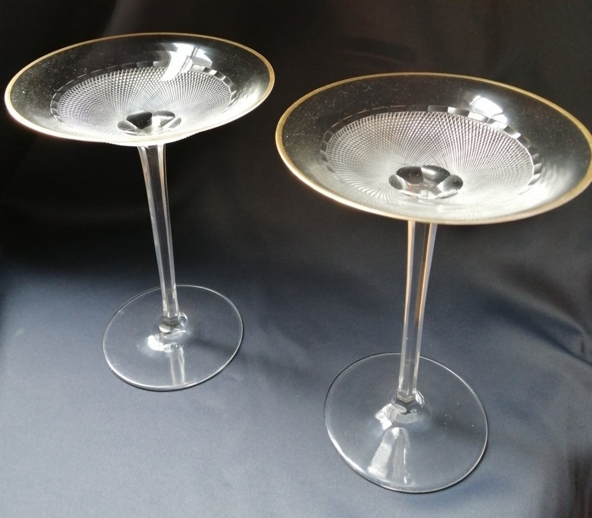 Pair Of Large Art Deco Crystal Cup Height 21.5 Cm