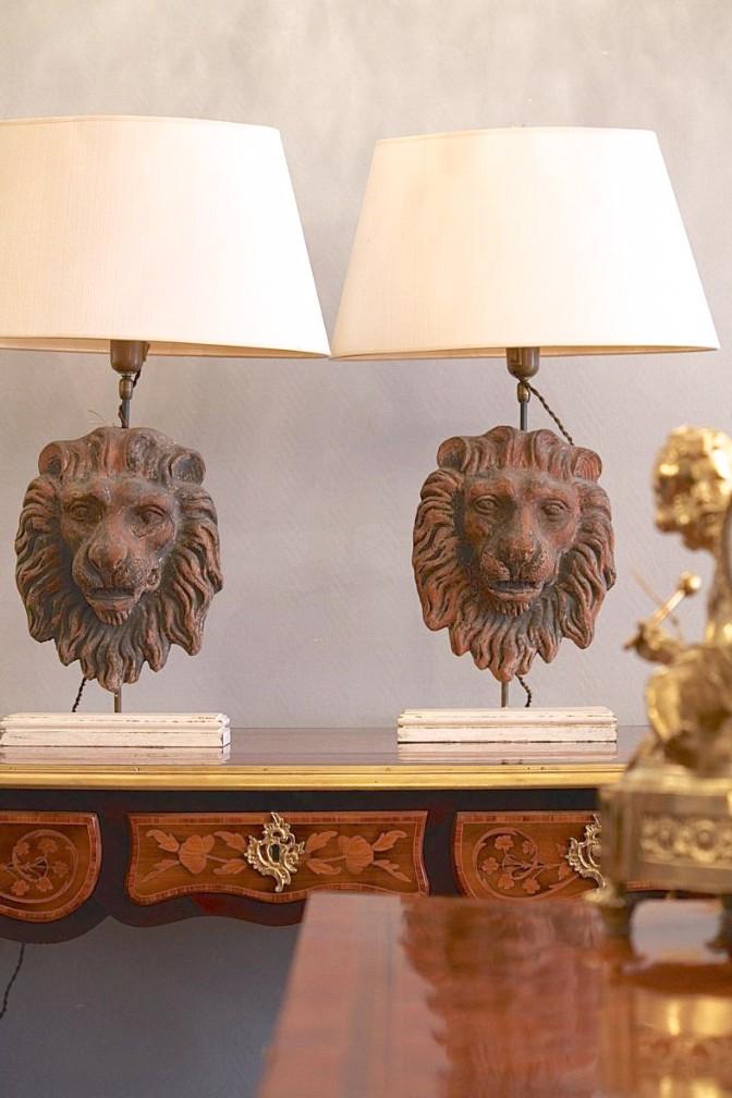 Paire de Lampes en Têtes de Lions