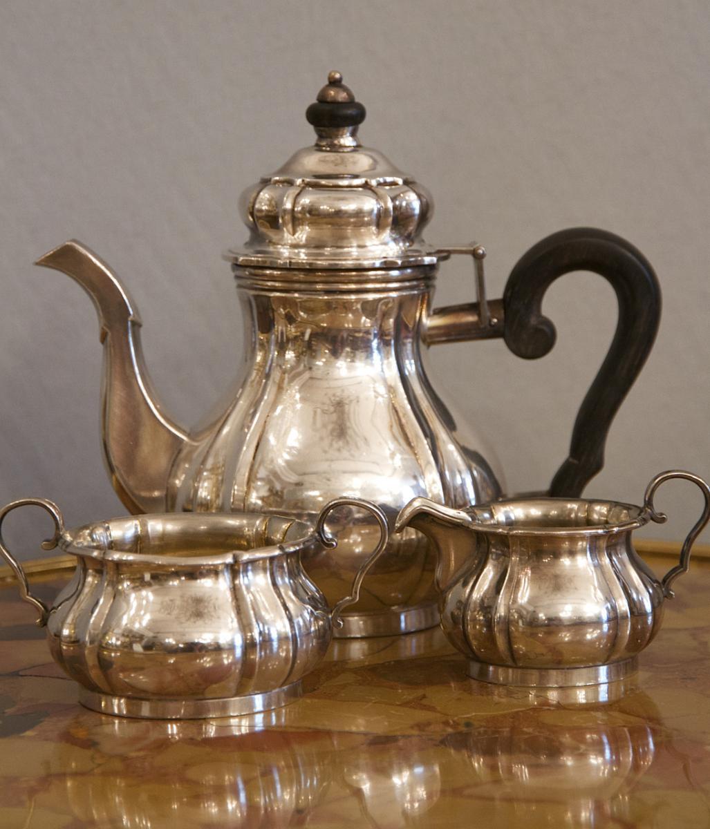 Probably American Neo Rococo Three-piece Sterling Silver Mocca Service