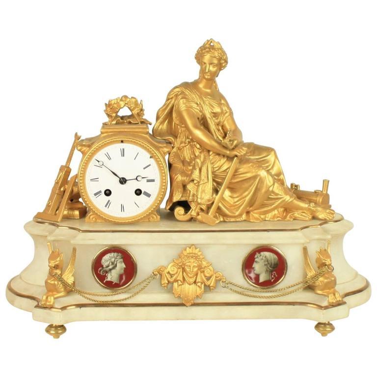 Pendule Napoléon III Avec Personification De l'Industrie