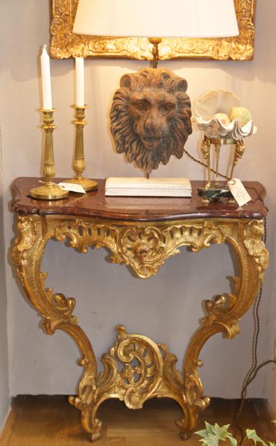 Console Louis XV Francais En Bois Sculpté Et Doré, Milieu De XVIIIe Siècle