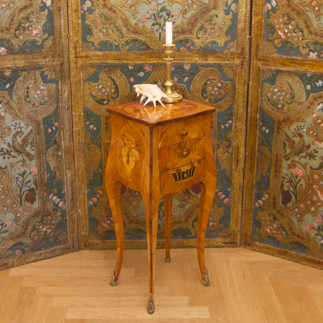 Small Louis XV Marquetry Side Table Or Chiffonière, 19th Century