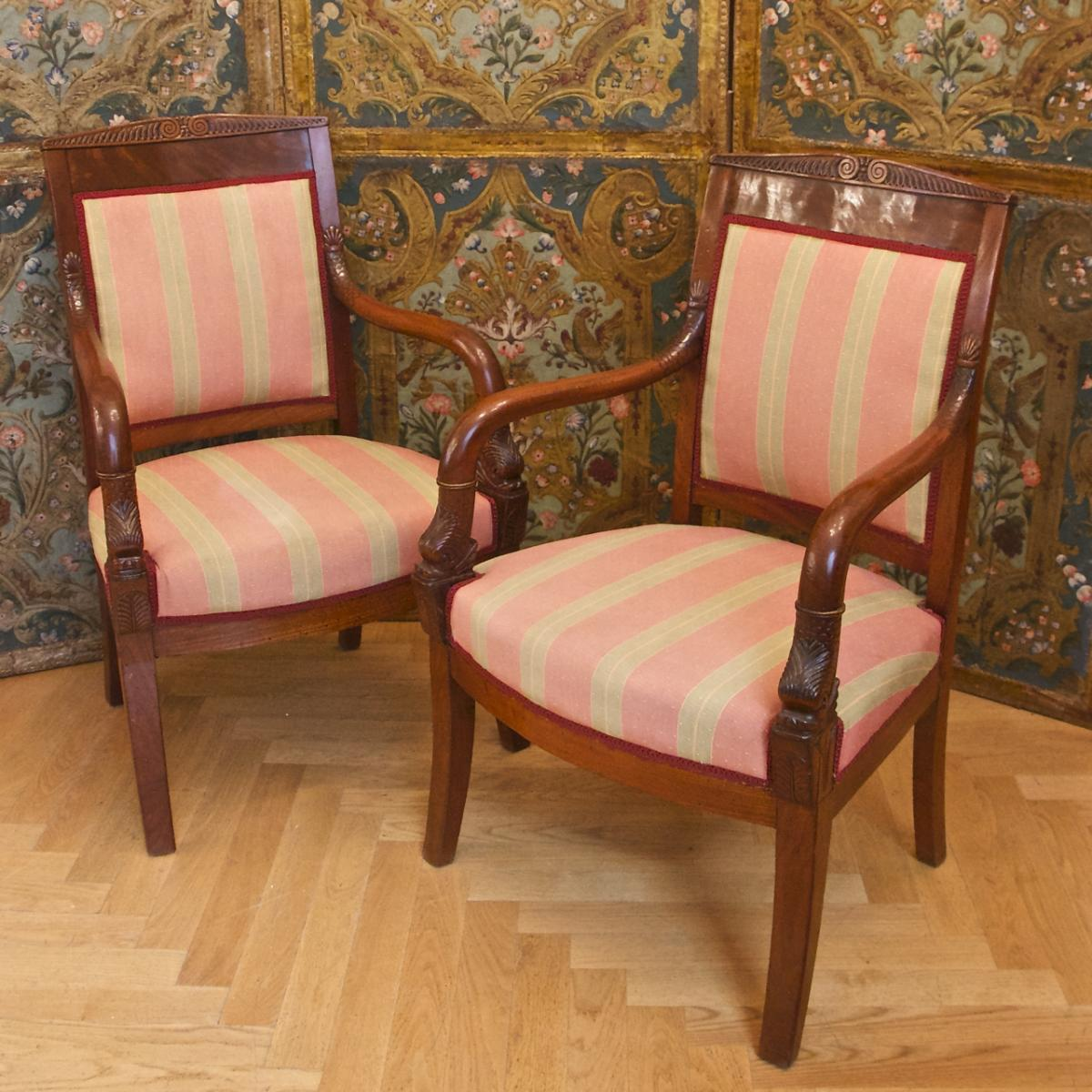 Pair Of Empire Period Mahogany Fauteuils Armchairs With Dolphins, Early 19th Ct.