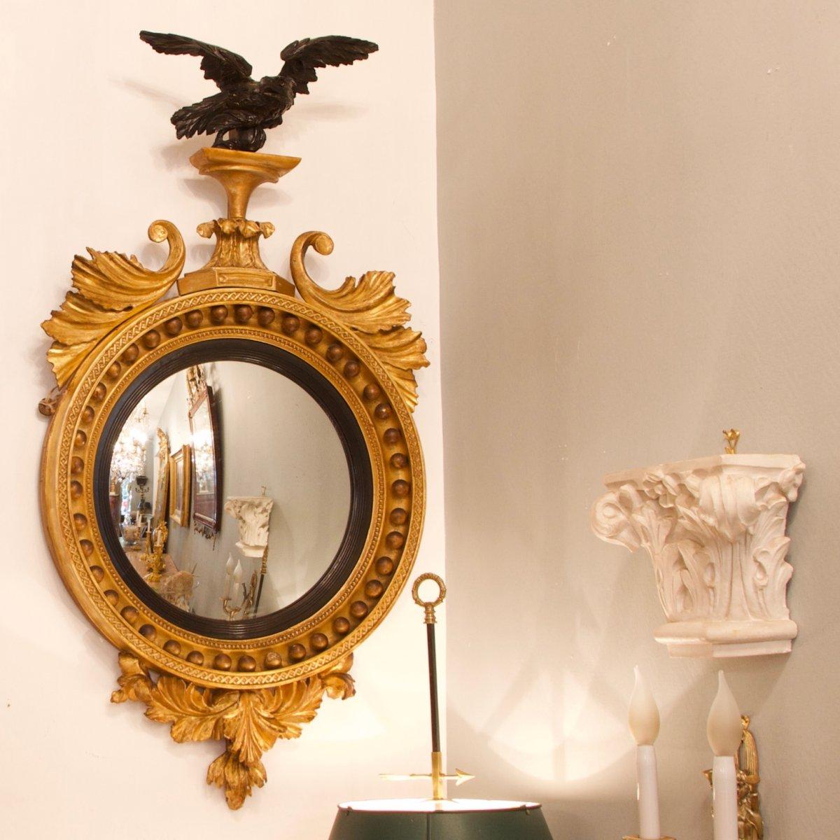 English Early 19th Century Regency Gilt And Ebonized Convex Wall Mirror