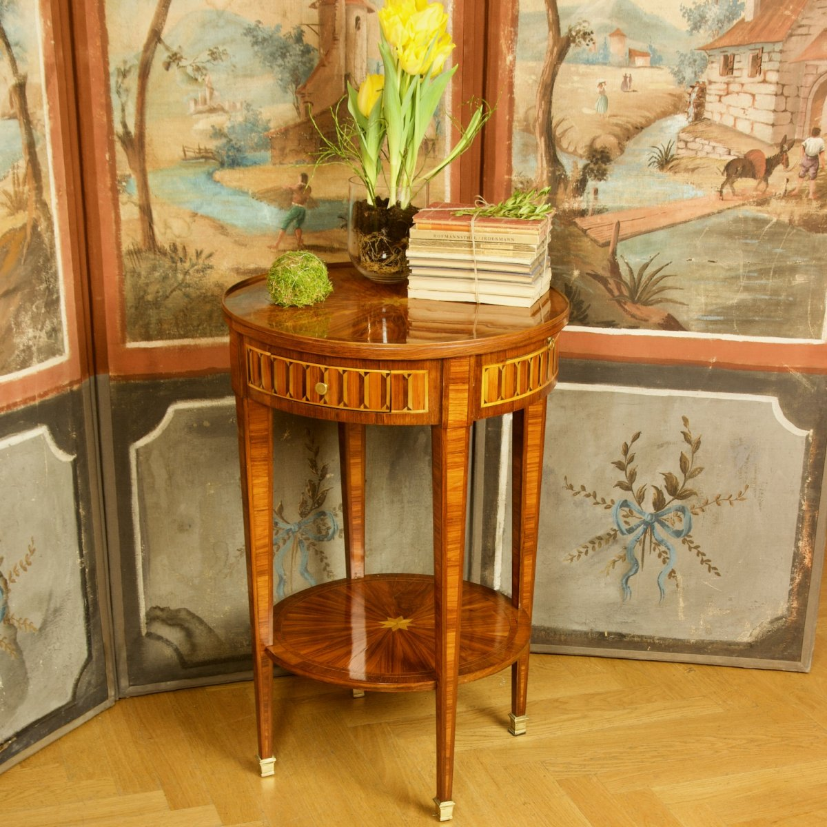 Small 19th Century Louis XVI Marquetry Gueridon Or Salon Table