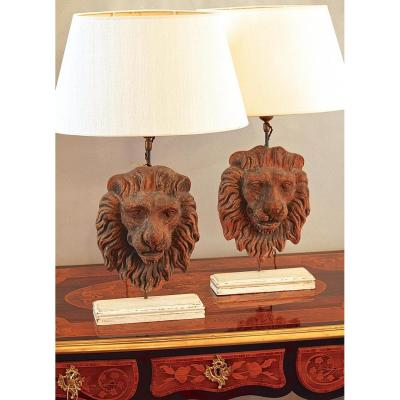Pair Of Terracotta 18th Ct. Lions Head Table Lamps