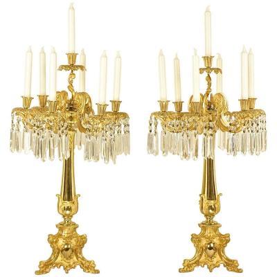 Grande Paire De Chandeliers De Style Neorococo De Thomas Abbott