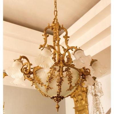 Lustre En Bronze En Style Louis XVI, Fin De 19ième Siècle