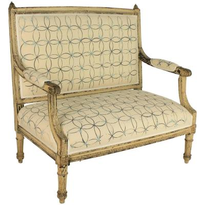 Louis XVI Painted Settee With Hand-painted Modern Geometrical Design Fabric