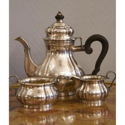 Probably American Neo Rococo Three-piece Sterling Silver Mocca Service