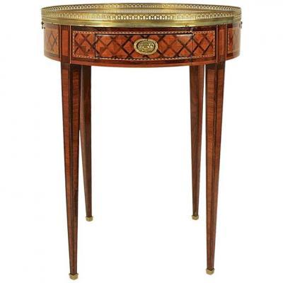 Table Bouillotte Louis XVI Avec Marquetrie En Treillage, 18ième Siècle