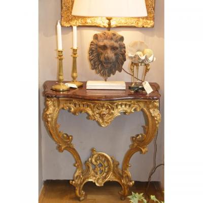 Louis XV French Carved And Giltwood Console, Mid-18th Century